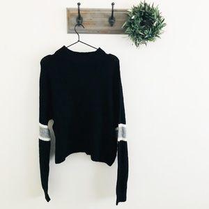 NWT John + Jenn Black Stripe Sleeve Sweater M